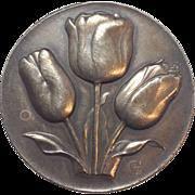 "SALE Beautiful Signed Dutch Bronze ""GV"" stamped Tulip brooch / pin"