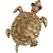 SALE Vintage Danker and Sons Signed 14K Solid Yellow Gold Swimming Sea Turtle Pin with ...