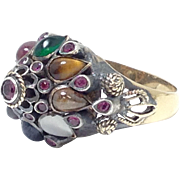 SALE STUNNING 18k gold and Gemstone Princess Ring with Sapphire Ruby Emerald Tigers Eye and Ci