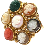Vintage 1960s Lucky 7 multi material cameo ring in 14k Yellow Gold