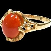 Vintage 1970s Red Coral 14 karat yellow gold ring