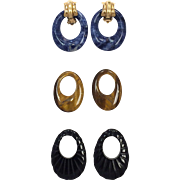Vintage 1980s Convertible 14 karat yellow gold clip earrings with Lapis, Tigers Eye, and Onyx