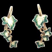 Vintage Goldstone Sterling Silver and Enamel Ivy Leaf Drop Earrings