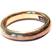Vintage 1940s solid 14 K yellow gold 5 mm wide rounded unisex wedding band