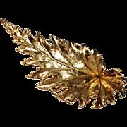SALE Vintage Denmark sterling signed 4 inch long unusual leaf brooch