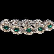 SALE Vintage 1950s crown Trifari emerald green clear rhinestone cocktail bracelet