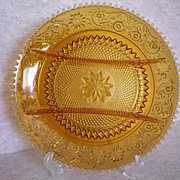 SALE Amber Sandwich Glass Hors d' Oeuvre Snack Divided Plate