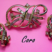 SALE 1950's Signed Coro Brooch & Clip Earrings