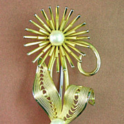 SALE Gold Filled Pearl Flower Brooch