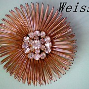 SALE Weiss Wire Design Brooch, Rhinestone Center