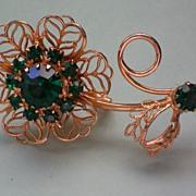 SALE Filigree Flower Brooch with Emerald Green Rhinestones
