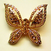 SALE Gold Tone Butterfly with Amber Colored Rhinestones
