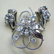 SALE Rhinestone Set of Pendant / Brooch and Clip Earrings