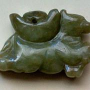 SALE Carved Jade, Jadeite Horse Pendant