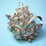 SALE Coro Marquis Rhinestone Floral Brooch