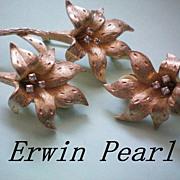 SALE Erwin Pearl Flower Lily Set ~  Brooch & Earrings