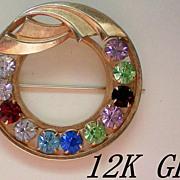 SALE 12K GE Gold Catamore Circle Brooch