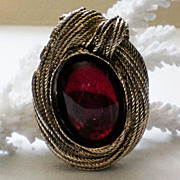 SALE Brooch / Fur / Dress Clip with Large Red Foil Backed Cabochon