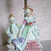 SALE Porcelain Figural Boudoir Dresser Lamp of French Figurines