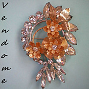 SALE Vendome Rhinestone and Gold Metal Flower Brooch