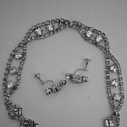SALE Rhinestone Necklace & Earring Set