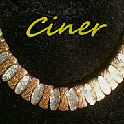 SALE CINER Signed Choker Necklace with Pave' Diamante Crystals