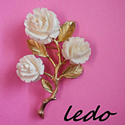 SALE Celluloid Roses Brooch Signed Ledo