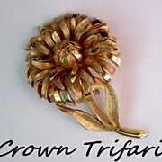 SALE Signed Crown Trifari Flower Pin