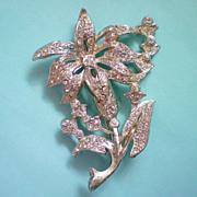 SALE Rhinestone Iris Flower Brooch with Pot Metal Base