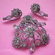 SALE Crystal and Rhinestone Brooch & Pierced Earrings