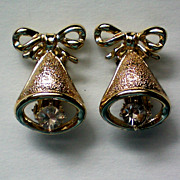 SALE Christmas / Holiday Bells Clip Earrings
