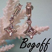SALE Bogoff Crystal Rhinestone Dangle Earrings