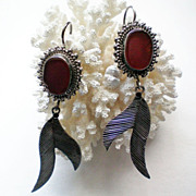 SALE Red Jasper and Sterling Silver Dangle Earrings