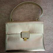 SALE Walborg Silver Leather Rhinestone  Envelope Purse / Bag