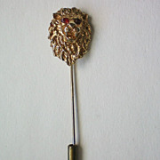 SALE Lion Stick Pin with Ruby Red Eyes