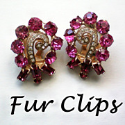 SALE Fabulous Glitzy Matching Pink Fur / Shoe Clips