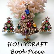 SALE HollyCraft Book Piece - Christmas Rhinestone Ribbon Tree & Earrings