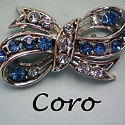 SALE Coro Blue Rhinestone Bow Pin