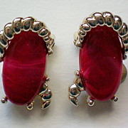 SALE Kramer Red and Silver tone Clip Earrings