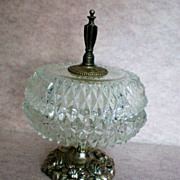SALE Crystal Coffee Table Covered Candy / Vanity Dish