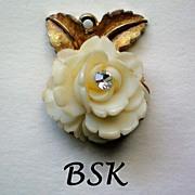 SALE BSK Celluloid Rose Pendant - Book Piece