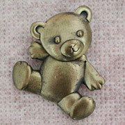 SALE Movable Teddy Bear Pin Signed JJ / Jonette Jewelry