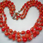 SALE Three Strand Red / Orange Bead Necklace