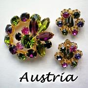 SALE Austrian Crystal Lights Rhinestone Brooch and Clip Earrings