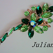 SALE Juliana Brooch in Shades of Green Rhinestones