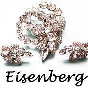 SALE Eisenberg Diamante  Brooch & matching Earrings