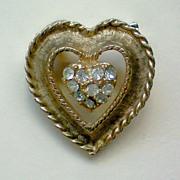 SALE Gold tone Heart with Rhinestone Center