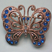 SALE Filigree Silver tone Butterfly Pin
