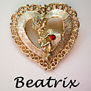 SALE Cupid & Valentine Heart Pin by Beatrix