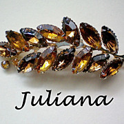 SALE Juliana Amber Root Beer Rhinestone Leaf Brooch